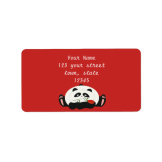 Panda Cartoon Romantic Love Cute Funny with Flower Label