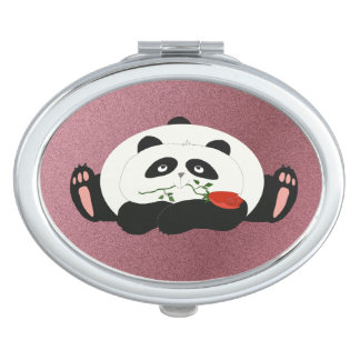 Panda Cartoon Romantic Love Cute Funny with Flower Travel Mirror