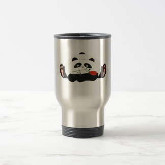 Panda Cartoon Romantic Love Cute Funny with Flower Travel Mug