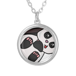Panda Cartoon Silver Plated Necklace