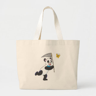 Panda Chasing Butterfly Large Tote Bag