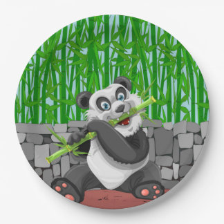 Panda Chewing on Bamboo Shoots 9 Inch Paper Plate