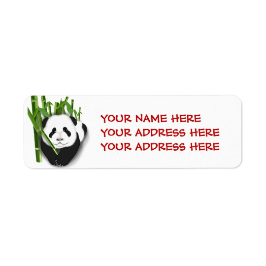 panda cubwithbamboo1, YOUR NAME HEREYOUR ADDRES... Return Address Label