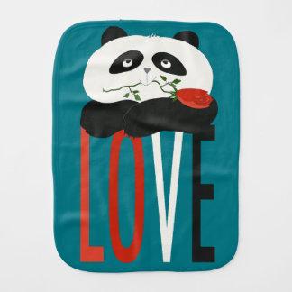 Panda Cute Cartoon Flower Romantic Turquoise Funny Burp Cloth