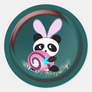 Panda de lapin de Pâques Sticker Rond