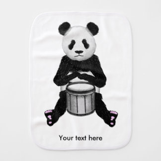 Panda Drumming Burp Cloths