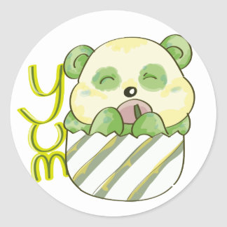 Panda Eating Bambo Classic Round Sticker