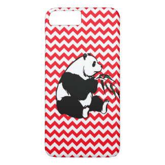 Panda Eating Bamboo Fire Engine Red Chevron iPhone 7 Plus Case
