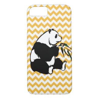 Panda Eating Bamboo Pastel Orange Chevron iPhone 7 Case