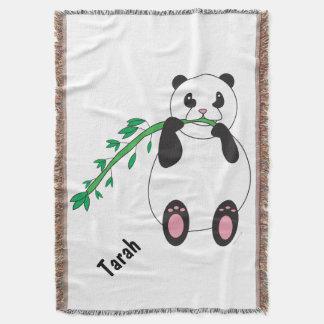Panda Eating Bamboo Personalize Throw Blanket