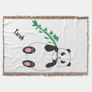 Panda Eating Bamboo Personalize Throw Blanket