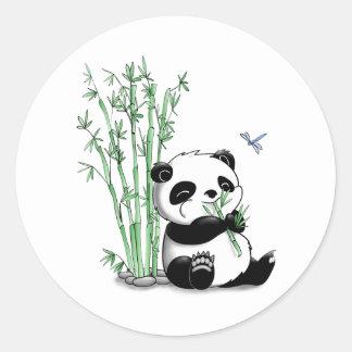 Panda Eating Bamboo Round Sticker