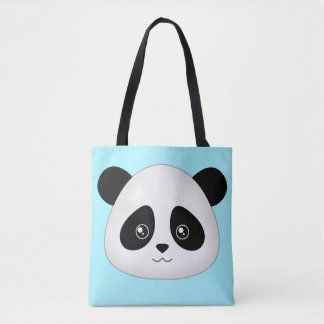 Panda Face Cute Kawaii Cartoon Animals Face Head Tote Bag