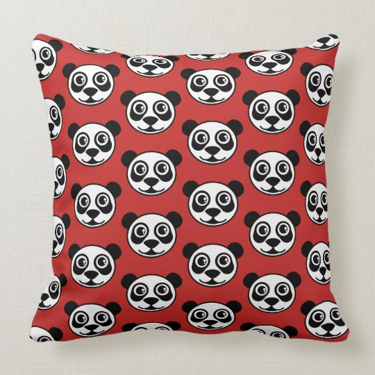 Panda Faces Red TP Throw Pillow