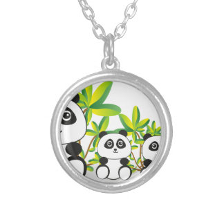 Panda Family Silver Plated Necklace