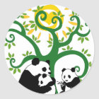 Panda Family Tree Classic Round Sticker