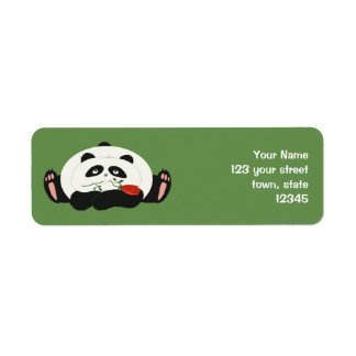 Panda Funny Romantic Cartoon Green Charming Cute Return Address Label