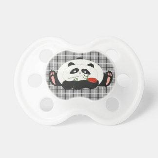 Panda Funny Romantic Tartan Cartoon Charming Cute Pacifiers
