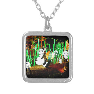 Panda Garden Light Up Night Photography Silver Plated Necklace