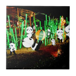 Panda Garden Light Up Night Photography Tile