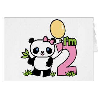 Panda Girl 2nd Birthday Invitations Note Card