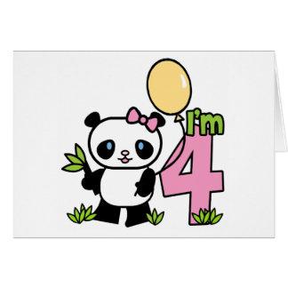 Panda Girl 4th Birthday Invitations Note Card