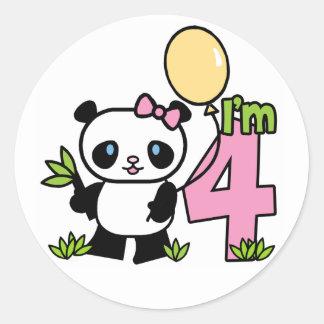 Panda Girl 4th Birthday Round Sticker