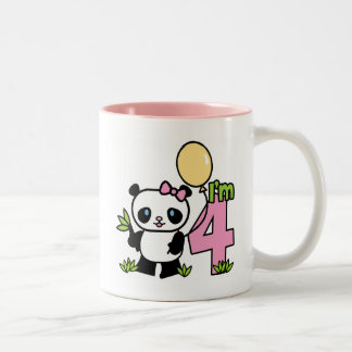 Panda Girl 4th Birthday Two-Tone Coffee Mug