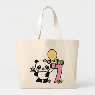 Panda Girl 7th Birthday Canvas Bags