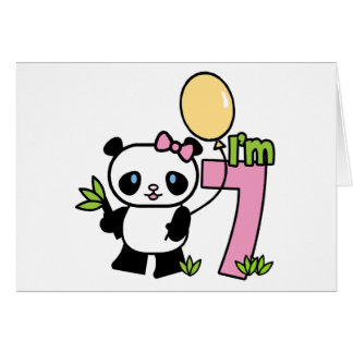 Panda Girl 7th Birthday Greeting Cards