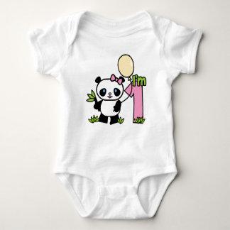 Panda Girl First Birthday Baby Bodysuit