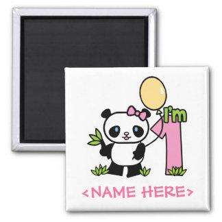 Panda Girl First Birthday Square Magnet