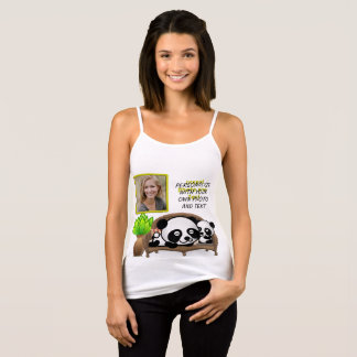 Panda, Green Plant - Insert YOUR Photo & Text - Tank Top