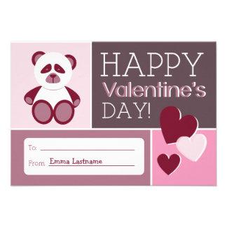 Panda & Hearts Kids School / Classroom Valentine Personalized Invites