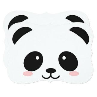 Panda heureux mignon de visage carton d'invitation  12,7 cm x 17,78 cm