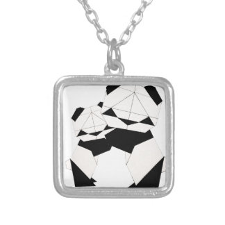 panda hugs silver plated necklace