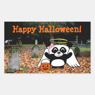 Panda in Angel Costume in Scary Graveyard