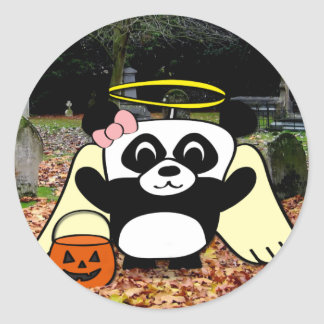 Panda in Angel Costume in Scary Graveyard Round Sticker