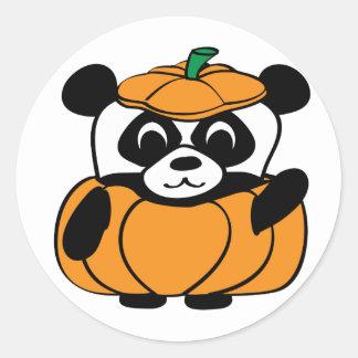Panda in Cute Pumpkin Costume Round Sticker