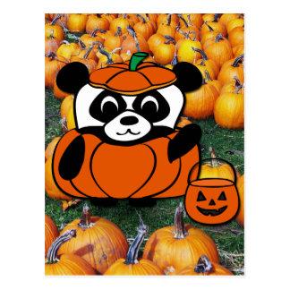 Panda in Devil Costume at Haunted Corn Maze Post Card