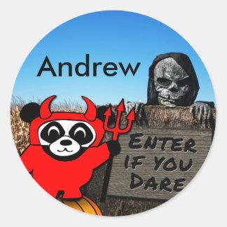 Panda in Devil Costume at Haunted Corn Maze Round Sticker
