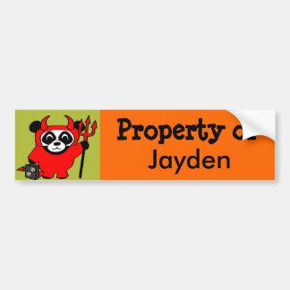Panda in Devil Costume Trick or Treat Bumper Sticker