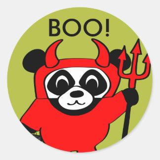 Panda in Devil Costume Trick or Treat Round Sticker