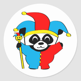 Panda in Jester Costume Round Sticker
