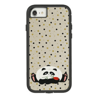 Panda in Love Cute Chic Girly Golden Black Dots Case-Mate Tough Extreme iPhone 8/7 Case