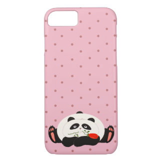 Panda in Love Cute Romantic Girly Pink Polka Dots iPhone 8/7 Case