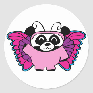 Panda in Pink Butterfly Costume Round Sticker
