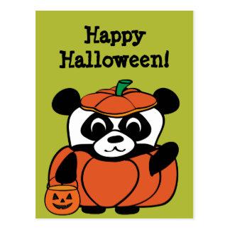 Panda in Pumpkin Costume Trick or Treat Postcards
