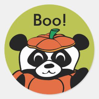 Panda in Pumpkin Costume Trick or Treat Round Sticker