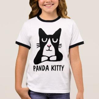 PANDA KITTY Cute Cat Kids T-shirts, Tuxedo Cat Ringer T-Shirt